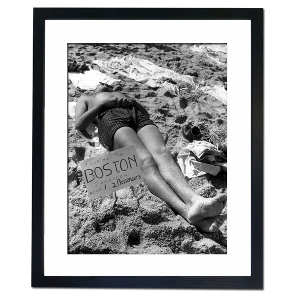 Beach sunbather offering lift to Boston for one or two passengers Framed Print