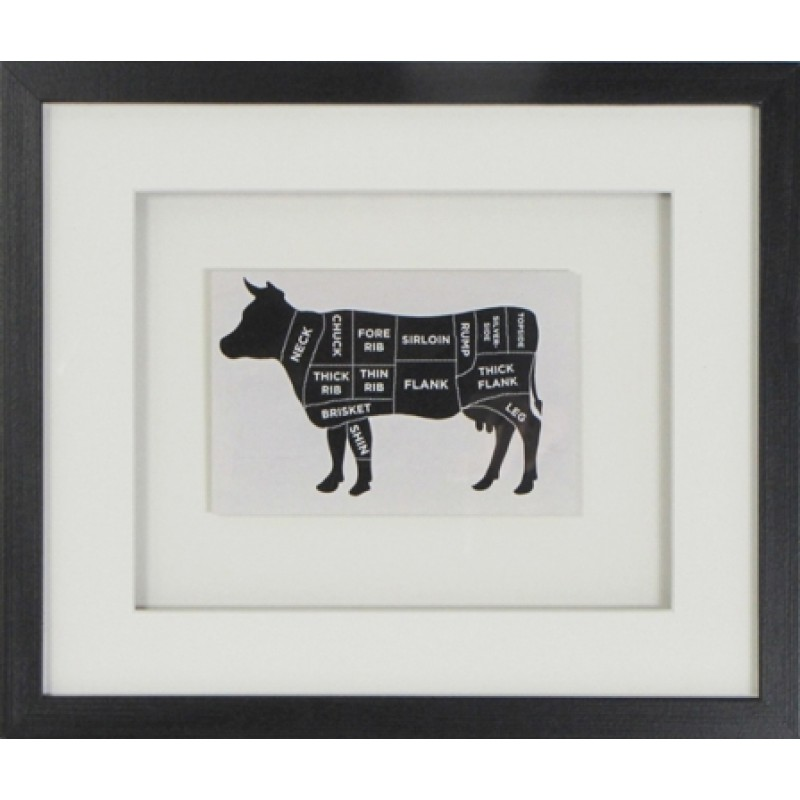 Black Amp White Butchers Best Cow Framed Print