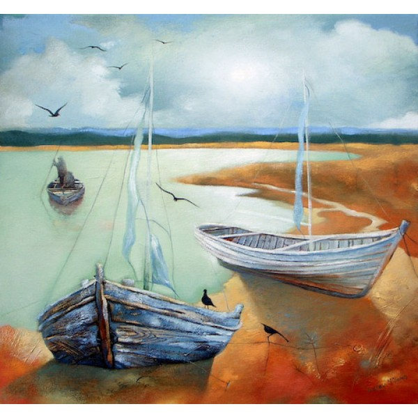 Lesley McLaren - Boats in Shallow Water