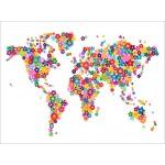 Michael Tompsett - Flowers Map of the World Map