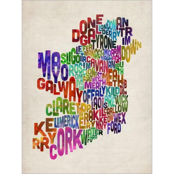 Michael Tompsett - Ireland Eire County Text Map