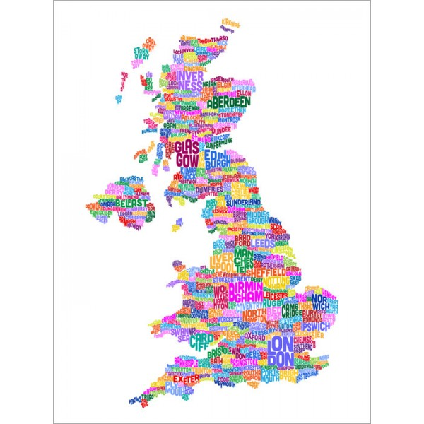Michael Tompsett - Great Britain UK City Text Map (White)