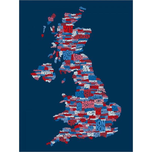 Michael Tompsett - Great Britain UK City Text Map (Blue)