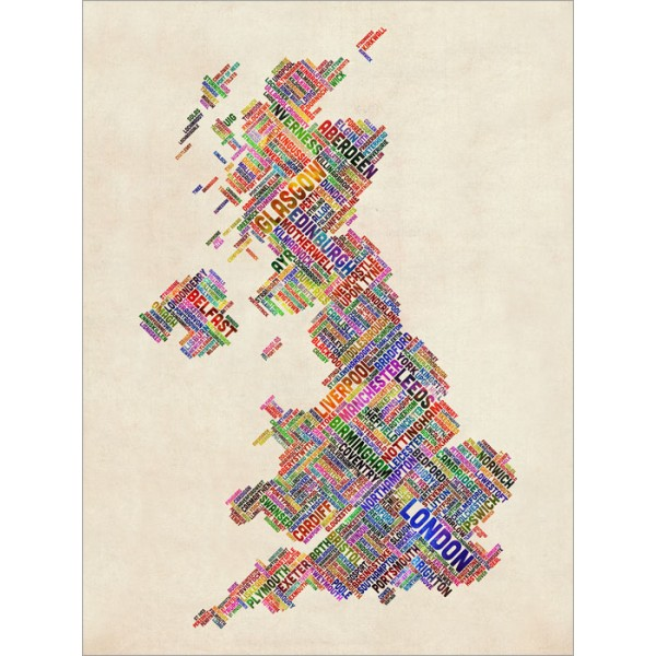 Michael Tompsett - Great Britain UK City Text Map
