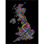 Michael Tompsett - Great Britain UK City Text Map (Black)