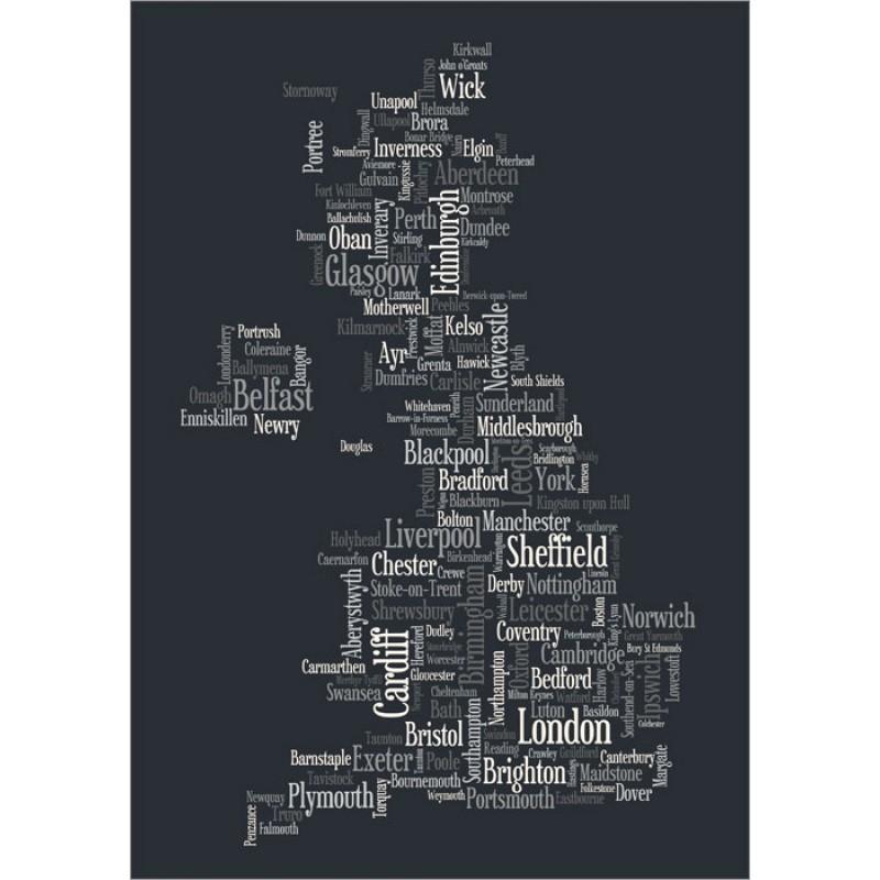 Michael Tompsett Great Britain Uk City Text Map Black White