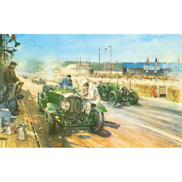 Terence Cuneo - Bentleys at Le Mans, 1929